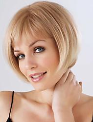 cheap -Human Hair Wig Straight Short Hairstyles 2019 Straight Capless Beige Blonde / Bleach Blonde Auburn Brown / Bleach Blonde Dark Brown