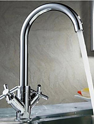cheap -Kitchen faucet - Two Handles One Hole Chrome Bar / ­Prep Deck Mounted Contemporary Kitchen Taps