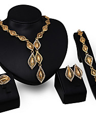 cheap -Jewelry Set Statement Ladies Tassel Vintage Party Link / Chain Cubic Zirconia Imitation Diamond Earrings Jewelry Gold For / Necklace
