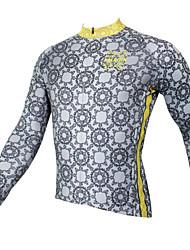 abordables -ILPALADINO Homme Manches Longues Maillot Velo Cyclisme Gris Cyclisme Maillot Hauts / Top VTT Vélo tout terrain Vélo Route Respirable Séchage rapide Résistant aux ultraviolets Des sports Hiver