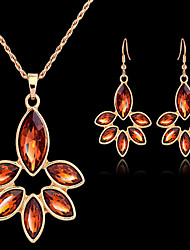 cheap -Jewelry Set Ladies Vintage Party Work European Cubic Zirconia Imitation Diamond Earrings Jewelry Gold / Light Brown For / Necklace