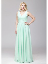 cheap -A-Line V Neck Floor Length Chiffon Bridesmaid Dress with Criss Cross by LAN TING BRIDE®