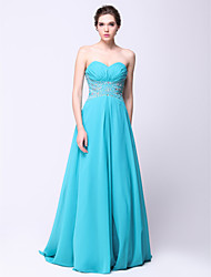 cheap -A-Line Formal Evening Dress Sweetheart Neckline Sleeveless Sweep / Brush Train Chiffon with Beading 2021