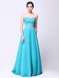 cheap -A-Line Formal Evening Dress Sweetheart Neckline Sleeveless Sweep / Brush Train Chiffon with Beading 2021