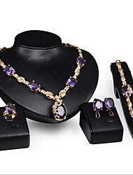 cheap -Women's Synthetic Amethyst Jewelry Set Ladies Rhinestone Earrings Jewelry Purple For Wedding Party Special Occasion Anniversary Birthday Engagement / Rings / Gift / Daily / Necklace