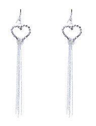 cheap -Women's Crystal Drop Earrings Heart Love Hollow Heart Ladies Tassel Fashion Crystal Rhinestone Silver Plated Earrings Jewelry Silver For Party Daily Casual