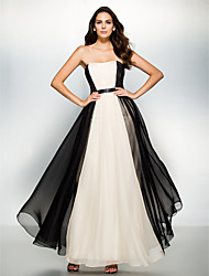 cheap -A-Line Color Block Formal Evening Dress Strapless Sleeveless Ankle Length Chiffon with Draping 2021