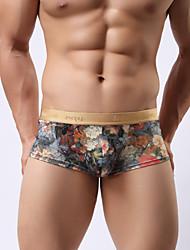 cheap -Men's Print Super Sexy Boxer Briefs Floral 1 Piece Blue Pink M L XL