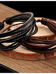 cheap -Women's Wrap Bracelet Leather Bracelet Layered Plaited Wrap Twisted Cheap Ladies Vintage Casual Basic Multi Layer Leather Bracelet Jewelry Black / Brown For Party Daily Casual Cosplay Costumes