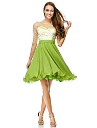 cheap -A-Line Fit & Flare Holiday Cocktail Party Prom Dress Scoop Neck Half Sleeve Knee Length Chiffon Tulle with Sequin 2020