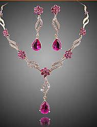 cheap -Amethyst Jewelry Set Pear Cut Ladies Party Fashion Elegant everyday Cubic Zirconia Earrings Jewelry Gold / Pink For Wedding Party Special Occasion Anniversary Birthday Gift / Necklace
