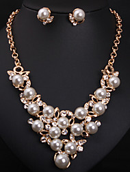 cheap -Missing U Women's All Matching Man Made Pearl Crystal  Long Necklace & Earrings Jewelry Sets