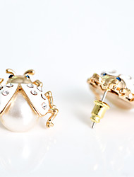 cheap -Women's Stud Earrings Pearl Gold Plated Earrings Jewelry White / Black / Red For Party Daily Casual