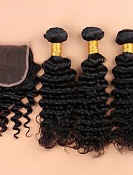 cheap -Brazilian Hair Curly Virgin Human Hair Hair Weft with Closure Human Hair Weaves Human Hair Extensions
