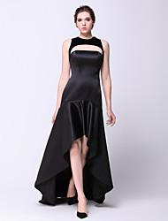 cheap -A-Line Elegant High Low Prom Formal Evening Military Ball Dress Jewel Neck Sleeveless Asymmetrical Satin Velvet with 2020