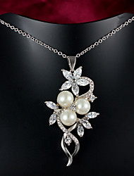 cheap -Women's Statement Necklace Pearl Gold Plated White / Sliver Necklace Jewelry For Wedding Party Daily Casual