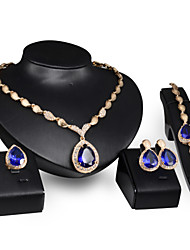 cheap -Sapphire Synthetic Ruby Jewelry Set Adjustable Ring Drop Statement Ladies Party Link / Chain Birthstones Italian Cubic Zirconia Gold Plated Earrings Jewelry Red / Blue For Wedding Party Gift / Rings
