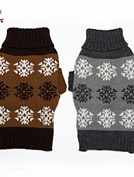 cheap -Cat Dog Sweater Winter Dog Clothes Gray Coffee Costume Cotton Snowflake Casual / Daily XS S M L