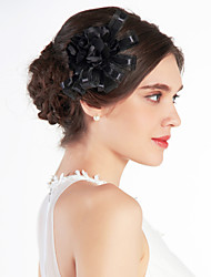 Недорогие -хорошая свадьба тюль свадебное черный цвет / корсаж / головной убор
