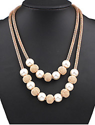 cheap -Women's Pearl Layered Necklace Pearl Necklace Double Mother Daughter Ball Ladies European Double-layer Fashion Pearl Alloy Screen Color Necklace Jewelry For Special Occasion Birthday Gift