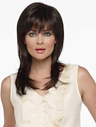 cheap -Human Hair Wig Straight Straight Capless Dark Brown / Dark Auburn Beige Blonde / Bleach Blonde Dark Brown