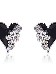 cheap -Women's Crystal Stud Earrings Heart Love Ladies Fashion Crystal Gold Plated Imitation Diamond Earrings Jewelry White / Black For Party Daily Casual