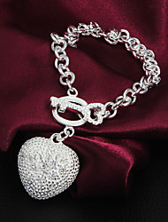 cheap -Women's Chain Bracelet Love Unique Design Fashion Silver Plated Bracelet Jewelry Silver For Wedding Party Casual