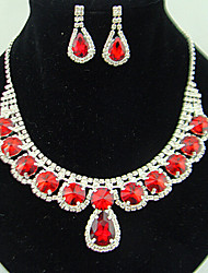 cheap -Synthetic Ruby Jewelry Set Pendant Necklace Tassel Pear Cut Round Cut Cross Ladies Party Fashion Cubic Zirconia Imitation Diamond Earrings Jewelry Red For Wedding Party Special Occasion Anniversary