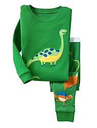 cheap -Toddler Cartoon Daily Holiday Going out Print Long Sleeve Regular Regular Cotton Clothing Set Green