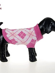 cheap -Cat Dog Sweater Plaid / Check Casual / Daily Winter Dog Clothes Pink Green Rose Costume Cotton XS S M L XL XXL