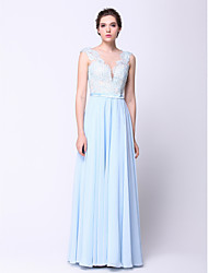 cheap -Ball Gown Open Back Holiday Cocktail Party Formal Evening Dress Plunging Neck Sleeveless Floor Length Chiffon with Beading Appliques 2021