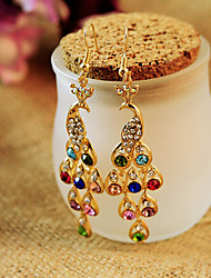 cheap -Women's Crystal Drop Earrings Hanging Earrings Chandelier Peacock Ladies Classic Bohemian Boho Crystal Rhinestone Earrings Jewelry For Wedding Daily Casual Masquerade Engagement Party Prom
