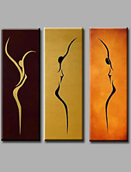 cheap -Oil Painting Hand Painted Vertical Panoramic Abstract Modern Stretched Canvas / Three Panels
