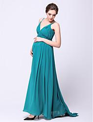 cheap -A-Line Open Back Formal Evening Dress Spaghetti Strap Sleeveless Sweep / Brush Train Chiffon with Draping 2020