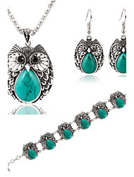 cheap -Hot 3 Color  Fashion Turquoise Owl Pendant Necklace Owl Drop Earring Bracelet Jewelry Set