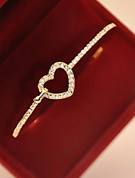 cheap -Women's Charm Bracelet Bracelet Bangles Heart Love Hollow Heart Ladies Imitation Diamond Bracelet Jewelry Golden For Gift Daily Casual