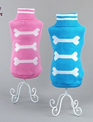 cheap -Cat Dog Sweater Winter Dog Clothes Blue Pink Costume Cotton Bone Casual / Daily XS S M L XL XXL