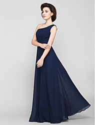 cheap -A-Line Mother of the Bride Dress Elegant One Shoulder Floor Length Chiffon Sleeveless with Beading Side Draping 2021