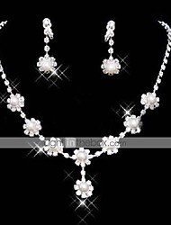 cheap -Pearl Jewelry Set Pendant Necklace Tassel Ladies Tassel Party Fashion Pearl Cubic Zirconia Earrings Jewelry White For Party Special Occasion Anniversary Birthday Gift