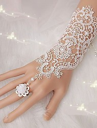 cheap -1Pair Fingerless Lace Wedding Gloves Free Shipping New Fashion White,Ivory Bride Bridal Gloves With Ring Bracelet