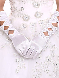 cheap -Elastic Satin / Spandex Fabric Elbow Length Glove Luxury / Bridal Gloves / Party / Evening Gloves With Pearl / Ruffles