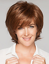 cheap -Human Hair Wig Wavy Short Hairstyles 2020 Berry Wavy Capless Dark Brown / Dark Auburn Strawberry Blonde / Bleach Blonde Beige Blonde / Bleach Blonde