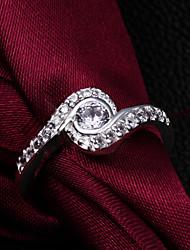 cheap -Men's Women's Band Ring Cubic Zirconia Silver Sterling Silver Zircon Silver Love Heart Wedding Party Jewelry Heart