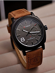 cheap -CURREN Men's Wrist Watch Quartz Leather Hot Sale Analog Charm Classic - White Black One Year Battery Life / Stainless Steel / SSUO 377