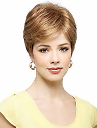 cheap -Human Hair Wig Straight Short Hairstyles 2019 Straight Capless Dark Brown / Dark Auburn Strawberry Blonde / Bleach Blonde Beige Blonde / Bleach Blonde