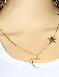 cheap -Wholesale Women Necklace European Style Star Moon Layered Chain Necklace