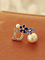 cheap -Bohemia Vintage Wholesale Women Pearl Flower Stud Earring