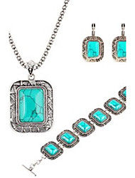 cheap -Hot 2 Color  Fashion Turquoise Square Pendant Necklace Flower Drop Earring Bracelet Jewelry Set