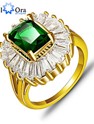 cheap -Women's Band Ring Emerald Green Gold Plated Fashion Elegant Party Jewelry