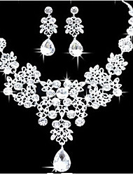 cheap -Jewelry Set Pear Cut Statement Ladies Party Elegant Bridal Cubic Zirconia Earrings Jewelry White For Wedding Prom 1 set / Necklace